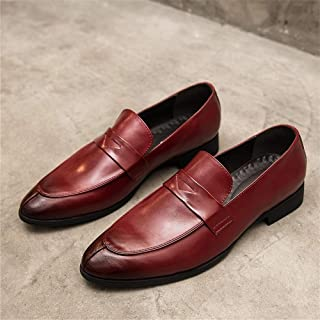 Leather Dress Loafers for Men Low Top Oxford Pointed Toe Microfiber Leather Slip on Solid Color Rubber Sole shoes (Color : Red, Size : 43 EU)