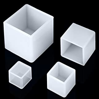 Jovitec 4 Pieces Square Resin Mold Cube Silicone Molds Resin Casting Molds for DIY Craft Making, 4 Sizes