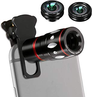Phone Lens, 4 in 1 Cell Phone Camera Lens Kits with 10X Telescope Lens+Fisheye Lens+Wide-Angle Lens+Macro Lens Compatible Phone and Tablets