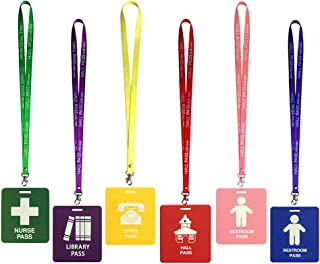 6 Pack Unbreakable PVC Hall Pass Lanyards,School Passes Set for Teachers, Parents,Bathroom, Library, Office and Nurse Classroom School Supplies (6 Hall Pass Set)