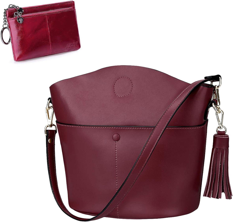 S-ZONE Women Genuine Leather Crossbody Bag Medium Shoulder Purse Handbag Triple Zipper Small Wallet Change Coin Purse