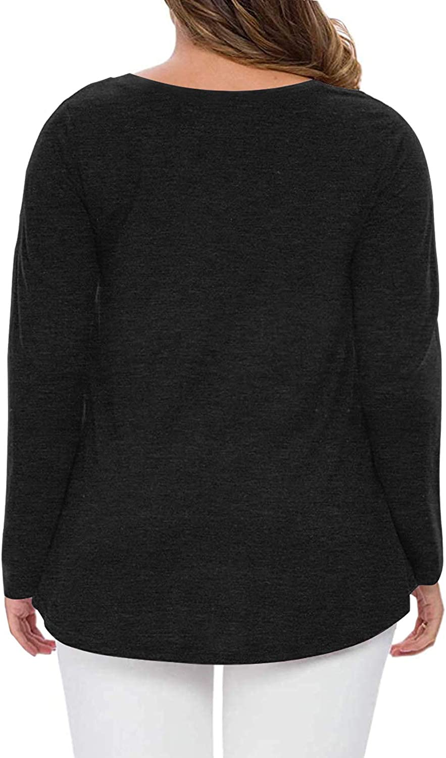 QUEEN PLUS Women's Plus Size Fall Long Sleeve Tunic Tops V-Neck Casual Blouse T-Shirts