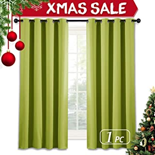 NICETOWN Blackout Curtain Window Panel Drape - (Green Color) Thermal Insulated Window Covering Room Darkening Grommet Top Drapery for Christmas Living Room, 52Wx63L, 1 Piece