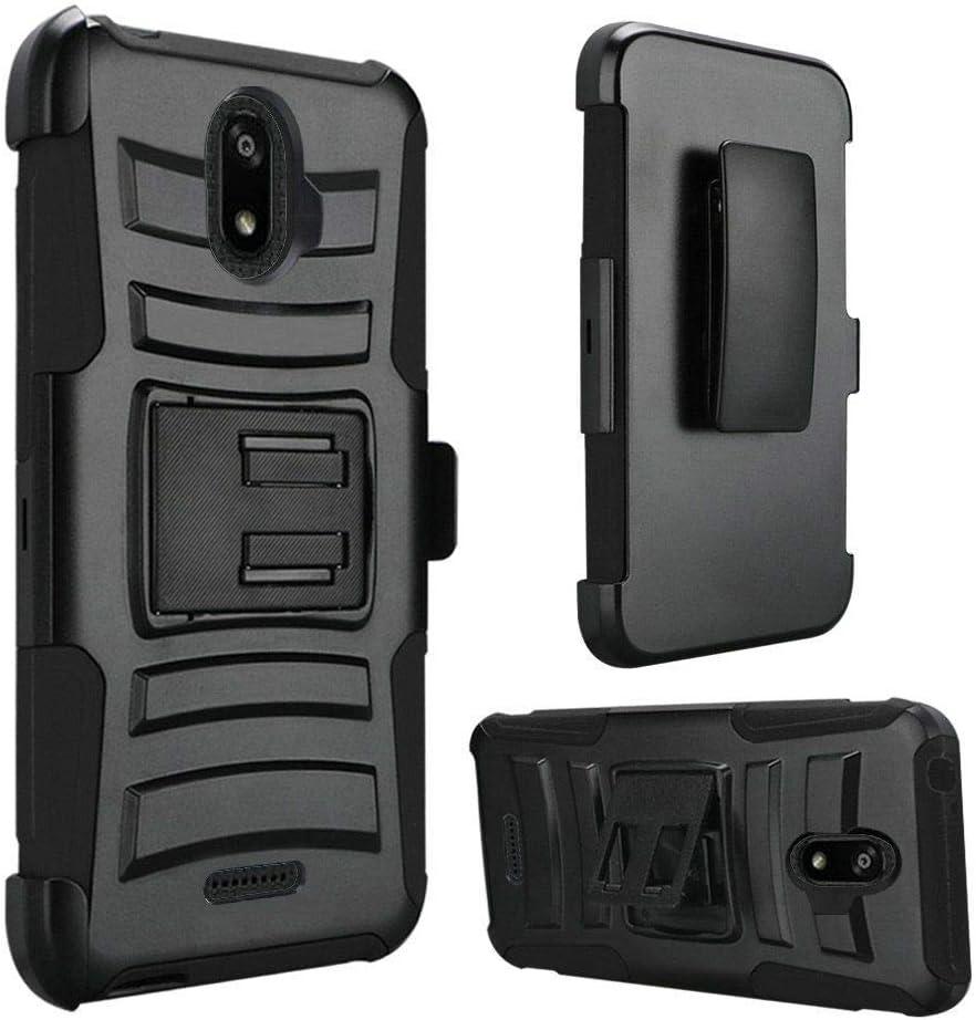 AmeriCase   AT&T Fusion Z (V340U) / AT&T Motivate (V341U)   Hybrid Defender Phone Case W/Belt Clip Holster for AT&T Fusion Z (V340U) / AT&T Motivate (V341U) (Black/Black)