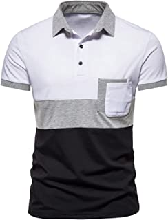 Men's Polos Short Sleeve,Contrasting Colors Golf Tennis Polo Shirts with Chest Pockets
