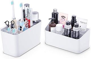 Lot de 2 supports pour brosses à dents électriques et organiseur de salle de bain pour dentifrice, peigne, rasoir, fournit...