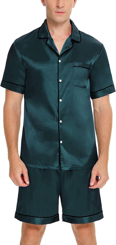 SWOMOG Men Silk Satin Pajamas Sets Short Sleeve Sleepwear Button-Down PJs Sets Two-Pieces Loungewear with Pockets
