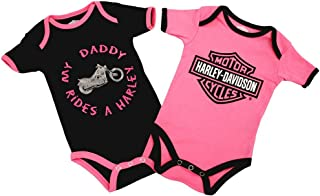 Harley-Davidson Girls Baby Twin Pack Creeper My Daddy Rides a Harley
