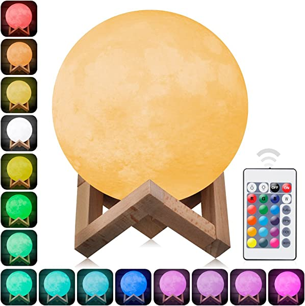 3D Moon Lamp Printed Night Light Elstey Remote Control 16 Colors Change Optical Illusion LED Lunar Moonlight Globe Ball With Wood Stand Base For Kids Room Baby Nursery Bedroom Decor Diameter 15CM