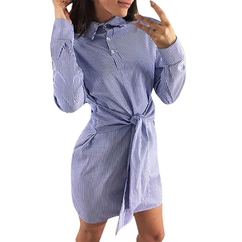 特にあいにく脇にSakuraBest 女性のストライプウエストバンド長袖シャツドレス