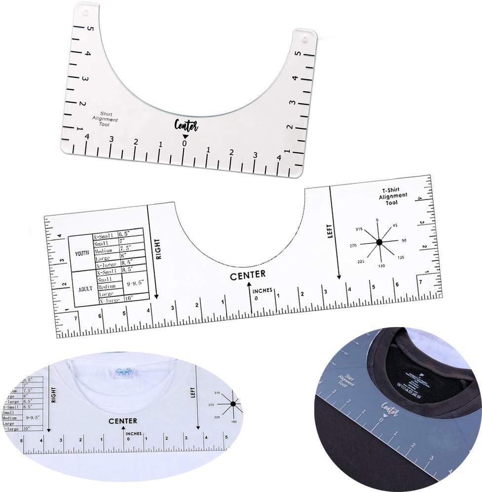 Tshirt Ruler T Shirt Alignment Tool T-Shirt Ruler Guide to Center Designs for Vinyl and HTV Heat Press Transfer 2 Pcs