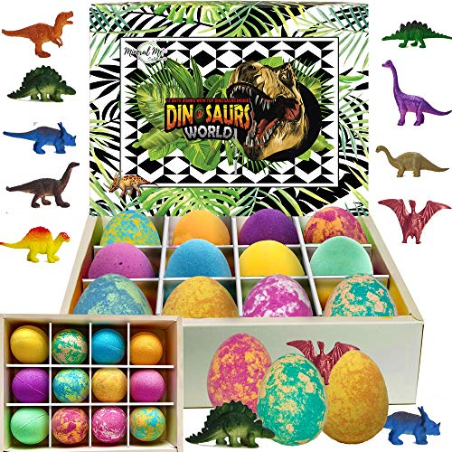 Bath Bombs for Kids with Toys Inside - Set of 12 Colorful Egg Bath Fizzies with Dinosaur Surprise. Gentle and Kids Safe Spa Bath Fizz Balls Kit. Birthday or Easter Gift for Girls and Boys