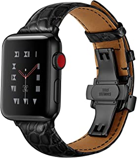 Fintia Luxury Genuine Crocodile Leather Watch Strap Replacement Band Wristbands Compatible for Apple Watch iWatch Series 5/4/3/2/1 Smartwatch