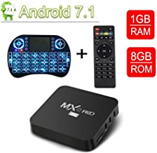 Android 7.1 Smart TV Box-VGROUND MXO Pro 4K TV Box with Upgrade Amlogic S905W 64Bits Quad-Core, 1GB + 8GB, 2.4GHz Wi-Fi Embedded, 4K Ultra HD, Support H.265 Video Decoder, Wireless Keyboard