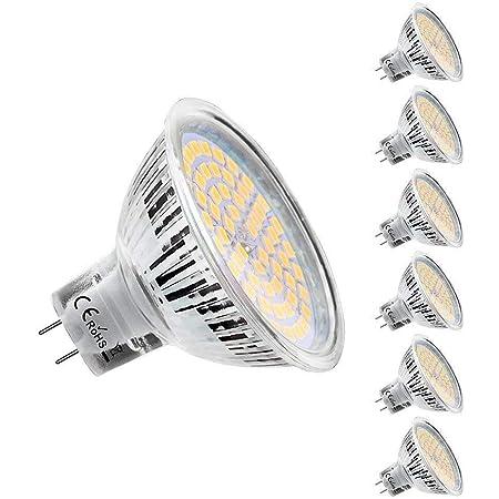KDP Ampoules LED MR16 GU5.3 12V, Blanc Chaud 2800K, 5W Equivalent à 50W lampe halogène, 450LM, 120° Angle, Ampoules LED Spot Non Dimmable, Lot de 6