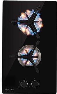 Klarstein Trifecta - table de cuisson à gaz, encastrable, brûleur triangle, gaz naturel/propane, soupapes de sécurité, fon...