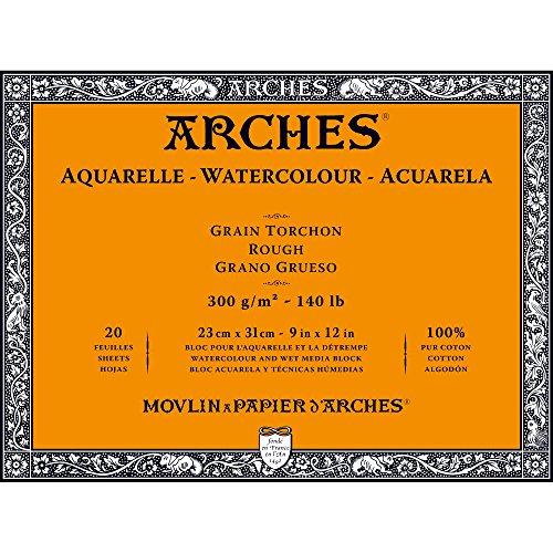 "Arches Watercolor Paper Block, Rough, 9"" x 12"", 140 Lb"