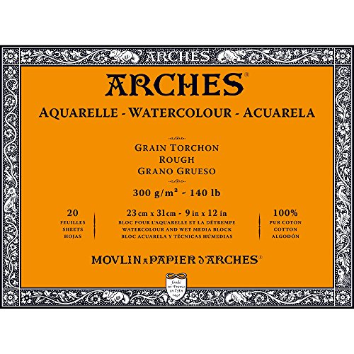 Arches Watercolor Paper Block, Rough, 9' x 12', 140 pound