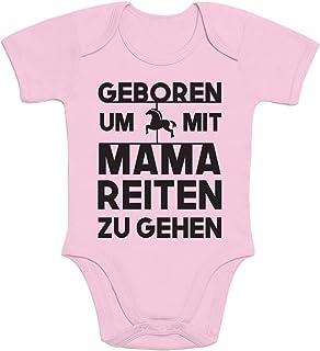 Shirtgeil Baby Kleidung Geboren Um Mit Mama Reiten Zu Gehen Baby Body Kurzarm-Body