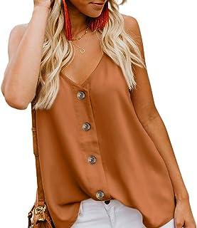 d771704e7556ed Aixy Women s Casual V Neck Spaghetti Strap Button Down Cami Shirt Blouses Tank  Tops