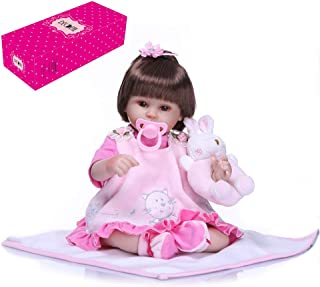 Goolsky 16inch 40cm Reborn Baby Doll Lifelike Eyes Open Silicone Vinyl Cute Gifts Toy Pink Outfit with Lovely Cat Dress Ra...