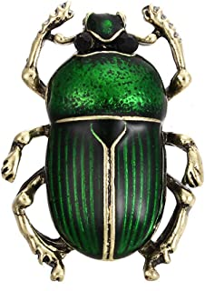 Tvoip Vintage Beetle Brooches for Women Kids Enamel Animal Insects Brooch Pins