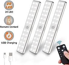 Mercase Lampe de Placard USB Rechargeable lampe 10 led detecteur de mouvement pour Cabinet Armoire Penderie Cuisine Couloir Toilettes Avec Bande Magnetique Adh/ésive Amovible 2 Pack Blanc