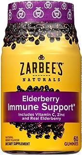 Zarbee's Naturals Elderberry Immune Support* with Vitamin C & Zinc, Natural Berry Flavor, 60 Gummies