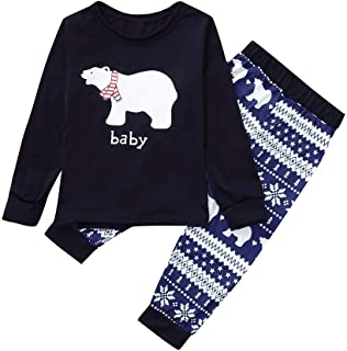 Christmas Pajamas Mommy &Daddy&Me Bear Letter Tops+Pants Family Set Clothes