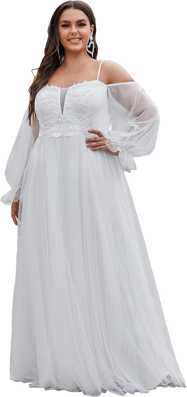 Ever-Pretty Women's Maxi Lace Appliques Plus Size Prom Dress Wedding Dresses 90332-PZ