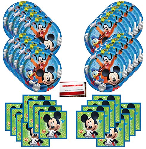 Disney Mickey Mouse Goofy Donald Duck Birthday Party Supplies Bundle Pack for 16 Guests (Plus Party Planning Checklist by Mikes Super Store)