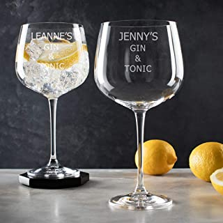 Personalized Gin and tonic Glass - Gin Lovers Gifts for Women - Unique Birthday Mothers Day Present - Engraved Large Cocktail Balloon Goblet with Long Stem