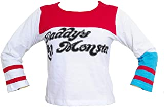 Women's Movie Cosplay T-Shirt Red-White Top with Rips