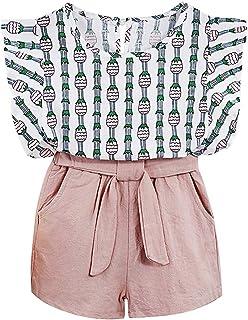 TUEMOS Conjunto de 3 Piezas de Ropa para niña con diseño Floral + pantalón Corto con Sombrero para el Sol, C-Rosa, 4 Años / 5 Años
