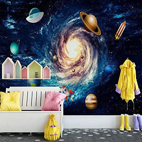 ZJfong aangepaste muurschilderingen Behang 3D Cartoon Cosmic Photo muurschildering kinderen kinderkamer achtergrond muurdecoratie 420 x 260 cm.