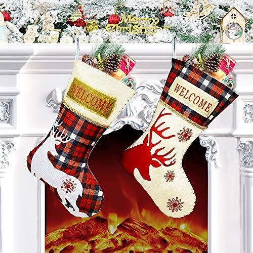 Calcetines de Navidad 2 Piezas, 46cm x 26cm Medias de Navidad Bolsa de Regalo Grand, Tema Reno con Estampado de Welcome, Adorno Navideño, Calcetin de Decoración Navidad para Árbol, Chimenea