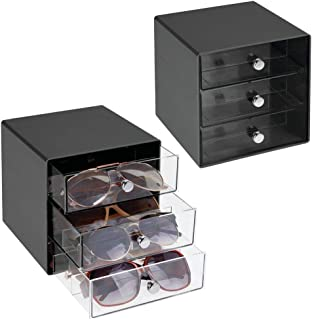 mDesign Stackable Plastic Eye Glass Storage Organizer Box Holder for Sunglasses, Reading Glasses, Accessories - 3 Divided ...