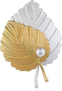 PULABO - Broche de hoja de arce para hombre, diseño de hoja de oro, para hombre