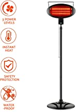 Electric Outdoor Heater, Vertical Halogen Patio Heater with Pull Line Switch, Indoor/Outdoor Heater with 3 Power Levels, Waterproof
