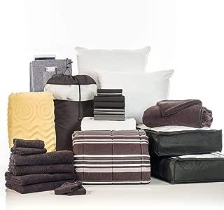 OCM 24 Piece Complete Campus Pak Black Easton Twin XL College Dorm Bedding and Bath Set
