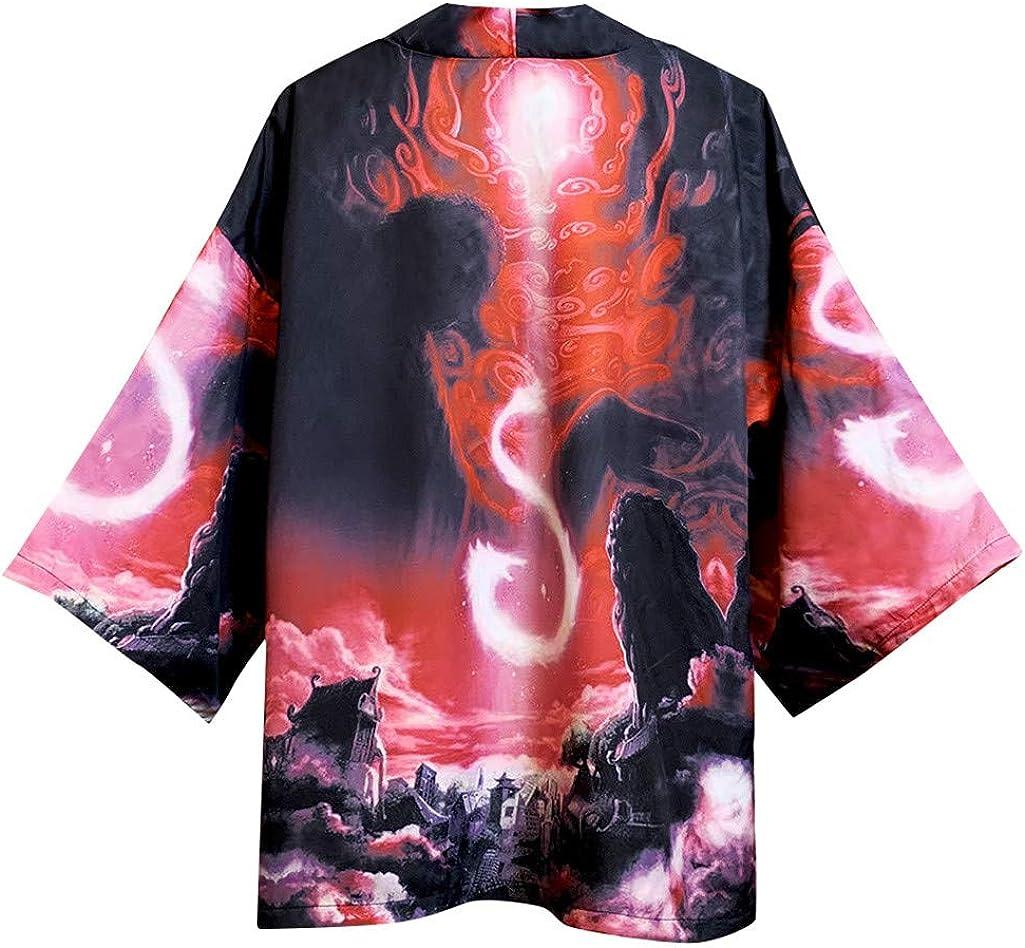 Litetao Men Japanese Coat Kimono Outwear Vintage Casual Top 3/4 Sleeve Floral Printed Loose Cardigan Shirt