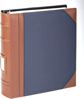 Executive Binder, English Leather 2 Tone with Stitching and Ribbed Spine, Heavy Duty 1 1/2