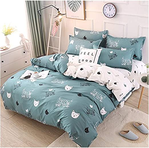 Rayhoo Bed Set Twin Sheets Set Cute Cat 3 Piece Bedding Sets One Comforter Cover Two Pillowcase Ultra Soft Microfiber Teen Bedding For Girls Bedroom Without Quilt Cute Cat Green Twin 66 X86 Amazon Ca Home