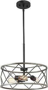 "Antique Farmhouse Drum Lighting, 3-Light Chandelier in Metal Finish, 15.7"" Dining Light Fixture"