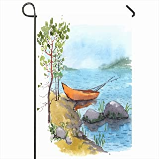 Ahawoso Outdoor Garden Flag 28x40 Inches Blue Boat Watercolor Cliff Painting Bank Lake River Fisherman Nature Forest Creek Stone Fishing Canoe Seasonal Home Decor Welcome House Yard Banner Sign Flags