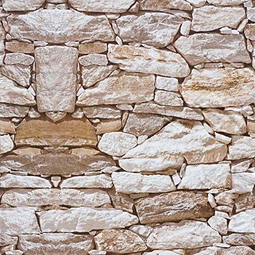 Stone Wallpaper Peel and Stick Wallpaper Stone 17.7' x16.4ft Peel and Stick Wallpaper Rock Stone Wallpaper Print Wallpaper Decoration Self-Adhesive Film Removable Film for Room Decor Vinyl Roll