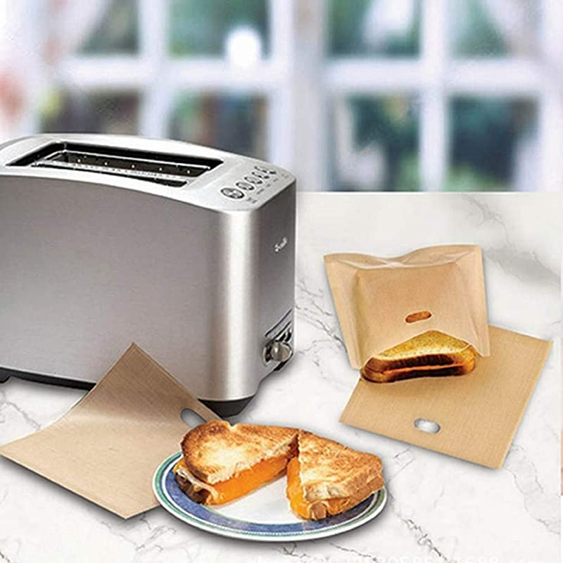 Purra145 Sandwich Toaster Bag 5Pcs Lot Toaster Bags For Grilled Cheese Sandwiches Made Easy Reusable Non Stick Baked Toast Bread Bags Baking Pastry Tools