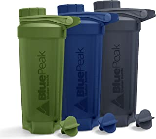 BluePeak Protein Shaker Bottle 28-Ounce, 3-Pack with Twist Cap. BPA Free, Shaker Balls Included (Green, Blue & Gray)