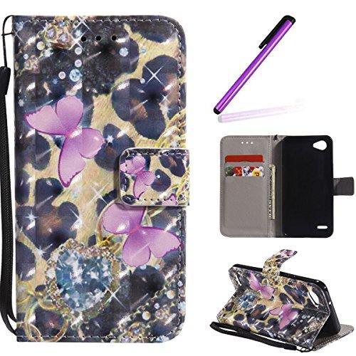 HMTECH LG Q6 Custodia Cover Portafoglio,LG Q6 Custodia 3D Pittura Colorata Wallet Shock-Absorption Magnetica Supporto Protettiva Bumper Cover Leather Flip Cover,Two Rose Butterflies KT