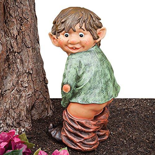 Bits and Pieces - Gartenzwerg mit Hose runter - Frecher Zwerg auf frischer Tat ertappt - Lustiges Gartendeko aus Kunstharz - 34cm hoch x 13cm breit